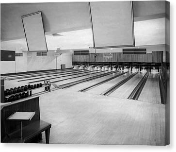 Bowling Alley Interior Canvas Print by Underwood Archives