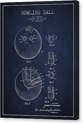 Bowling Ball Patent Drawing From 1949 Canvas Print by Aged Pixel
