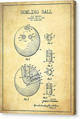 Bowling Ball Patent Drawing From 1949 - Vintage Canvas Print by Aged Pixel