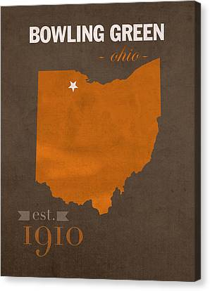 Bowling Canvas Print - Bowling Green State University Falcons Ohio College Town State Map Poster Series No 021 by Design Turnpike