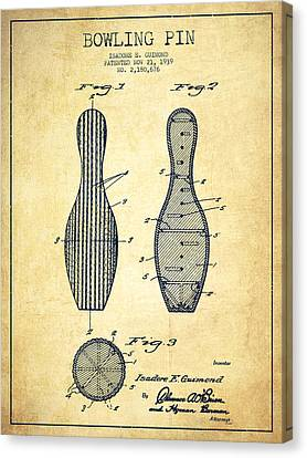 Bowling Pin Patent Drawing From 1939 -vintage Canvas Print by Aged Pixel