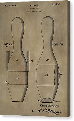 Tournament Canvas Print - Bowling Pins Patent by Dan Sproul