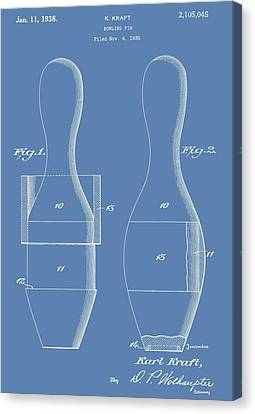 Tournament Canvas Print - Bowling Pins Patent On Blue by Dan Sproul