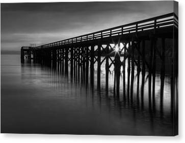 Bowman Bay Pier Sunset- Black And White Canvas Print by Mark Kiver