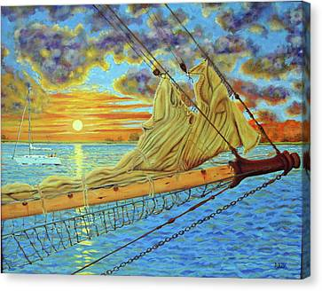 Canvas Print featuring the painting Bowsprit Over The Ashley River by Dwain Ray