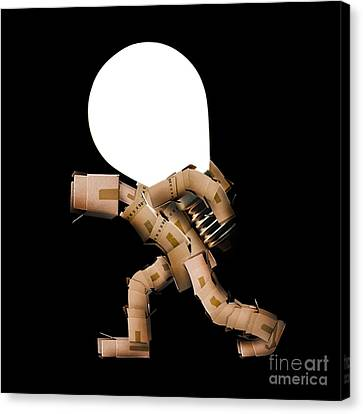 Box Man Carrying Light Bulb Canvas Print by Simon Bratt Photography LRPS