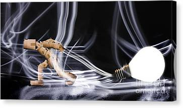 Cardboard Canvas Print - Box Man Dragging A Light Bulb by Simon Bratt Photography LRPS