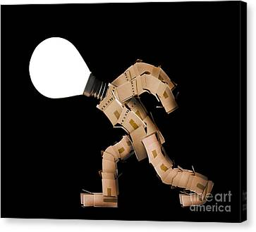 Cardboard Canvas Print - Box Man With Light Bulb Head by Simon Bratt Photography LRPS