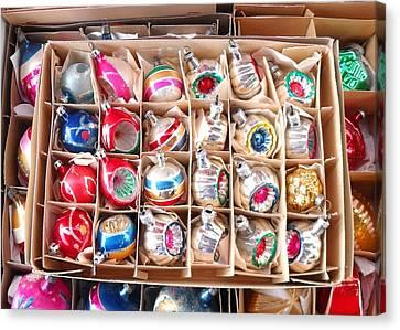 Box Of Vintage Ornaments Canvas Print