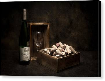Wine Glasses Canvas Print - Box Of Wine Corks Still Life by Tom Mc Nemar
