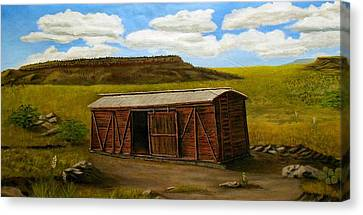 Canvas Print featuring the painting Boxcar On The Plains by Sheri Keith