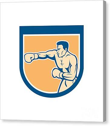 Boxer Boxing Punching Shield Cartoon Canvas Print by Aloysius Patrimonio
