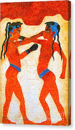 Boxer Boys Painting Canvas Print by Antony McAulay