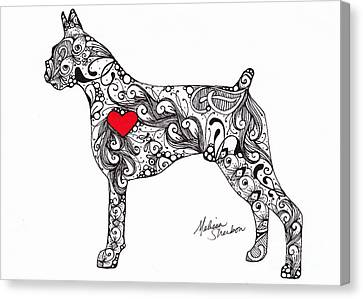 Canvas Print featuring the drawing Boxer by Melissa Sherbon