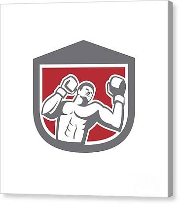 Boxer Punching Boxing Shield Retro Canvas Print by Aloysius Patrimonio