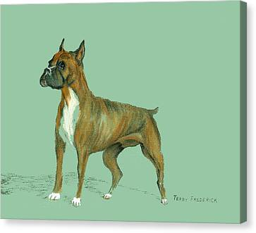 Canvas Print featuring the pastel Boxer by Terry Frederick
