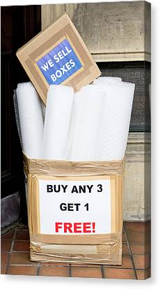 Boxes And Bubblewrap Canvas Print by Tom Gowanlock
