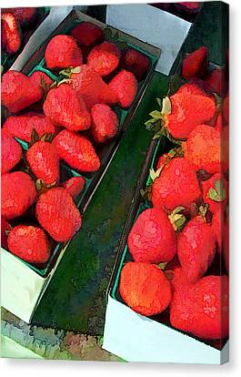 Boxes Of Bright Berries Canvas Print by Elaine Plesser