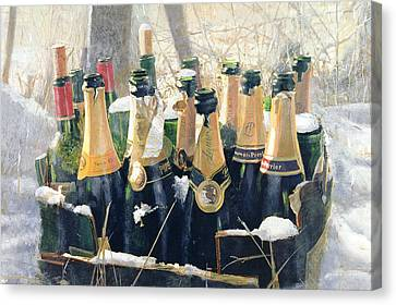 Cellar Canvas Print - Boxing Day Empties by Lincoln Seligman
