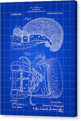 Boxing Glove Patent 1914 - Blue Canvas Print by Stephen Younts
