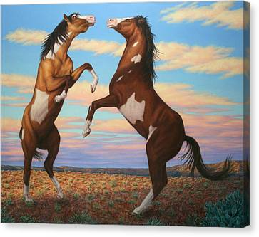 Jumping Horse Canvas Print - Boxing Horses by James W Johnson