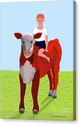 Boy And Calf Canvas Print