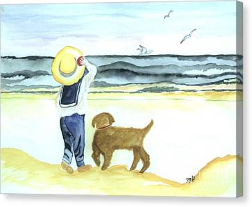Boy And His Dog Canvas Print by Marsha Heiken