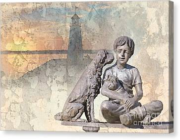 Boy And His Dogs Sculpture Canvas Print by Betty LaRue
