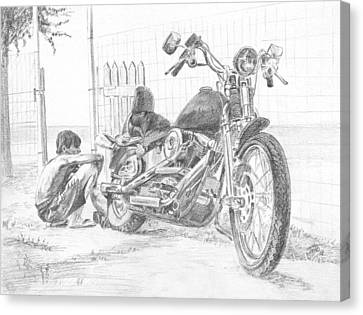 Boy And Motorcycle Canvas Print