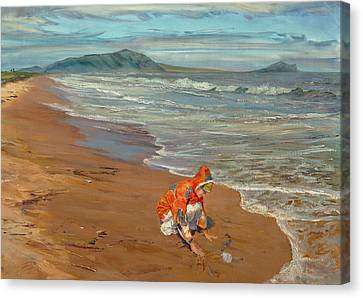Boy At The Seashore Canvas Print
