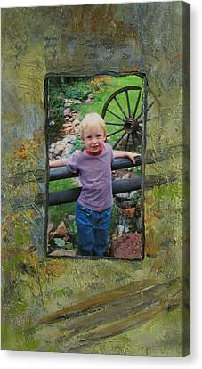 Boy By Fence Canvas Print