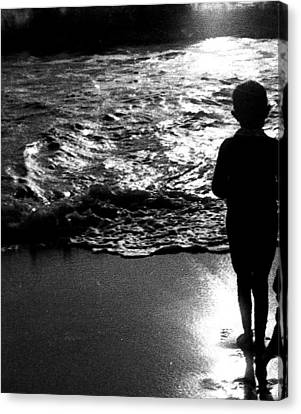 Canvas Print featuring the photograph Boy By The Sea by Estate of Frank Dohnalek