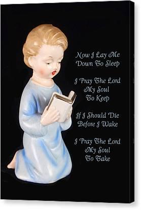 Boy Childs Bedtime Prayer Canvas Print by Kathy Clark