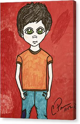 Canvas Print featuring the drawing Boy by Chrissy  Pena