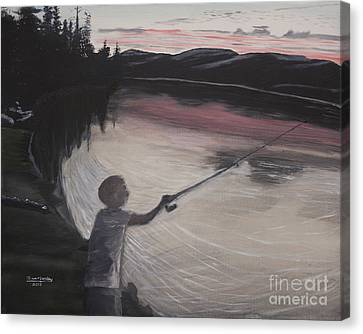 Boy Fishing And Sunset Canvas Print