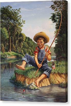 Boy Fishing In River Landscape - Childhood Memories - Flashback - Folkart - Nostalgic - Walt Curlee Canvas Print by Walt Curlee