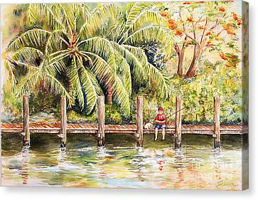 Boy Fishing With Dog Canvas Print by Janis Lee Colon