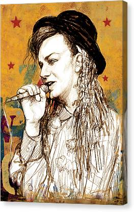Boy George - Stylised Drawing Art Poster Canvas Print by Kim Wang