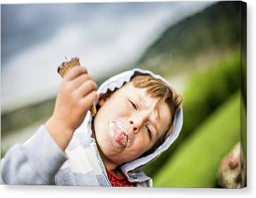Boy Holding Ice Cream Canvas Print by Samuel Ashfield