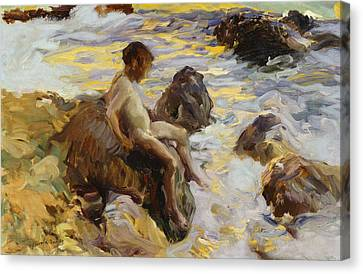 Boy In The Breakers Canvas Print by Joaquin Sorolla y Bastida