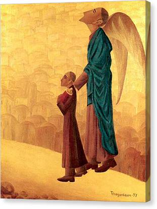 Boy Leading The Blind Angel Canvas Print
