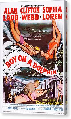 Boy On A Dolphin, Us Poster, Center Canvas Print by Everett