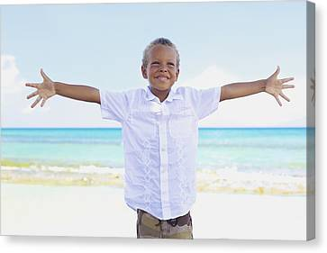 Boy On Beach Canvas Print by Kicka Witte