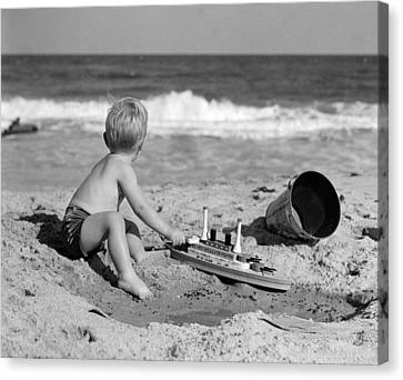 Boy Playing At The Beach, C.1950s Canvas Print by H. Armstrong Roberts/ClassicStock
