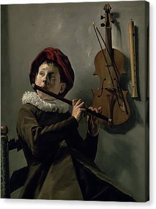 Boy Playing The Flute Canvas Print by Judith Leyster