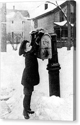 Boy Puts Letter Into Mailbox, C. 1880 Canvas Print by Photo Researchers