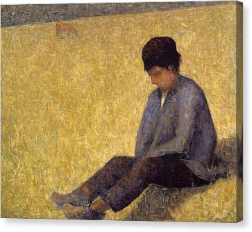 Boy Sitting On The Grass, C.1882 Oil Canvas Print by Georges Pierre Seurat