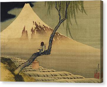 Boy Viewing Mount Fuji Canvas Print by Katsushika Hokusai