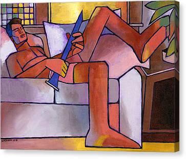 Boy With A Horn Canvas Print by Douglas Simonson