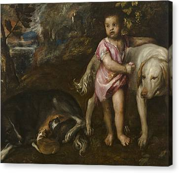 Boy With Dogs In A Landscape Canvas Print by Titian